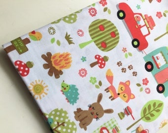 Michael Miller Camp Out Fabric, Vintage Camper fabric, Woodland Animals fabric, OOP, VHTF