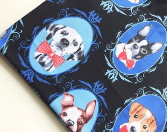 Dog Cameos Fabric by Timeless Treasures Fabric, Dot Portraits Fabric, Black Dog Fabric, OOP, HTF