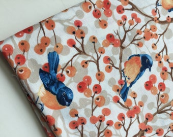 Toccata Cream Bluebirds and Berries Fabric by Timeless Treasures Fabric, OOP, HTF, Rare