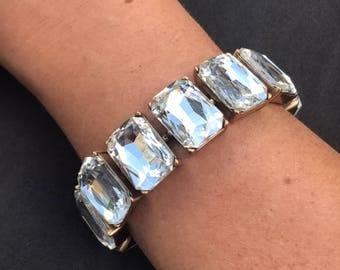 Beautiful large crystal bracelet rectangular crystal bracelet beautiful wedding jewelry bling bracelet authentic crystal bridesmaid gift