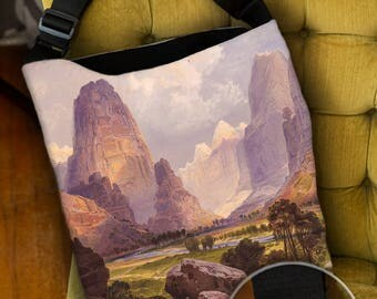 Lined Tote Bag with Inside Zipper Pocket and Adjustable Handle, Moran Valley of the Bubbling Waters, Book Bag, Grocery Bag, Shopping Bag