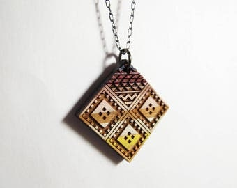 Medium Diamond Necklace, Wood, Sahara Desert Colors 1