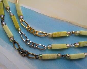 "36"" Vintage Banana Yellow Rectangular Jade Bead Chain. 13 x 3 x 4mm  Jade Bead Chain. Handmade Craft Supply. 3 Metal Colors to choose."