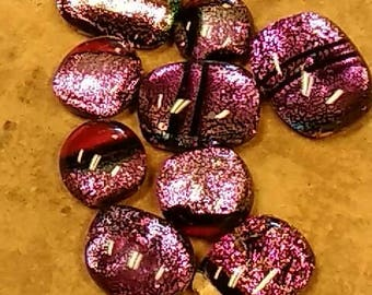 Dichroic glass cabochons mixed pinks