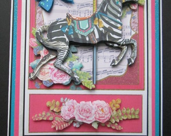 Handmade 3D Zebra Carousel Horse with Flowers Greet Card!