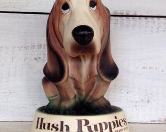 Vintage Midcentury 1960's Hush Puppy Shoes Advertising Store Display Hard Rubber Bassette Hound Figure