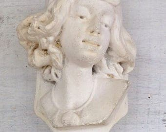 Vintage Plaster Bust of Egyptian Woman Wall Hanging or Planter