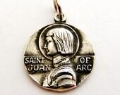 Vintage sterling silver Joan of arc pendant medal