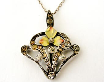 Antique art nouveau paste enamel pendant on sterling chain