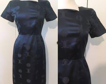 Mid century dress, cheongsam style wiggle dress, navy satin, XS S