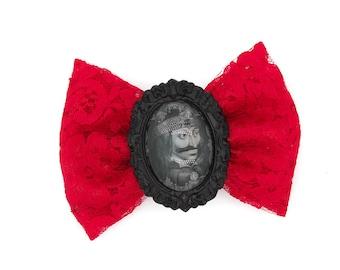 Vlad Tepes Dracula Red Lace Hair Bow Clip