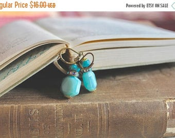 30% OFF Simple turquoise blue glass bead earrings with rhinestone accents, Blue Eyed Girl