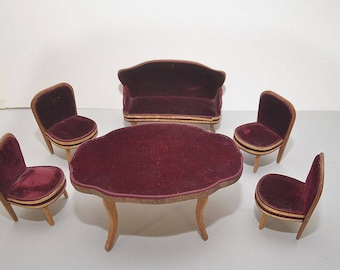 RARE 1890s/1900s Vintage Antique Doll's House German/French Wood Velvet Gilt Salon Sofa Chairs Table Gottschalk Waltershausen Schneegass