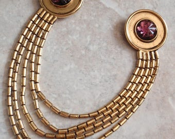 Purple Gold Collar Pins Clips Chatelaine Ben-Amun Floral Rhinestone Vintage 022716PS