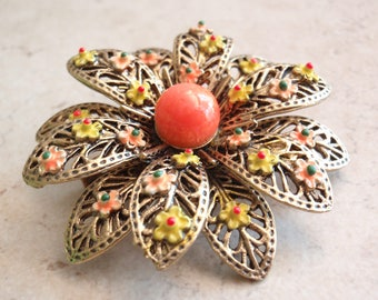 Floral Brooch ART Enamel Gold Tone Orange Yellow Vintage 030416FT