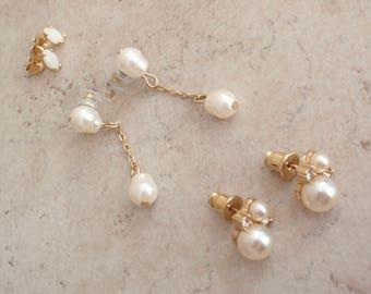 Pearl Earrings Lot White Opal Gold Tone Vintage V0285