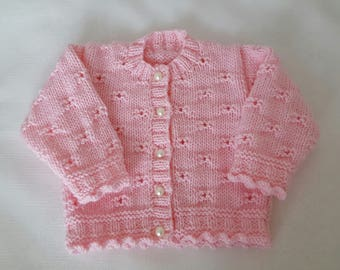 Knitted Baby Sweater -  Hand Knit Pink Cardigan - Girls Sweater  - Handmade Baby Clothes - Knitted Cardigan - 0-3 Months -Ready to Ship
