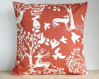 Decorative Pillow Cover, Orange Pillow Sham, Cushion Cover, 16x16, 18x18, 20x20, Cotton Pillowcase, Couch Pillows, Sofa Pillow - Glade Spice