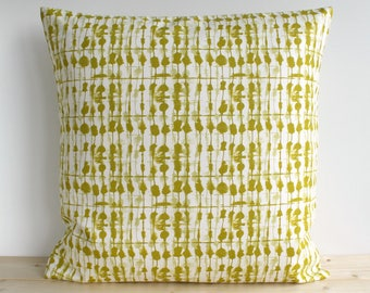 Accent Pillow Cover, Pillow Sham, 16x16, 18x18, 20x20, Pillowcase, Throw Pillow, Cotton Pillow, Cushion Cover - Tie-dye Beads Chartreuse