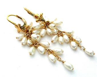 Pearl and 14k Gold Filled Earrings