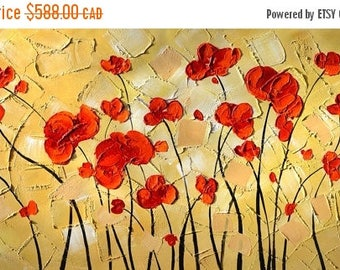 70% off ORIGINAL Painting Oil Palette Knife Colorful Red Abstract painting contemporary art painting decorpro impasto Textured  ART by March