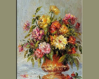 70% off Vintage looks Original Oil Painting Palette Knife Colorful Flowers Vase roses  Bouquet Textured  by Marchella