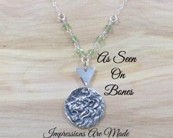 Lions Head Necklace, Lion Necklace, Green Necklace, Sterling Silver Necklace, Beaded Necklace, As Seen On TV, As Seen On Bones