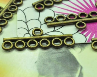 6 loop Connector, 6 loop Charm, 20pcs Antique bronze lovely 6 rows Connector pendant, jewelry pendant hanger 28x10mm