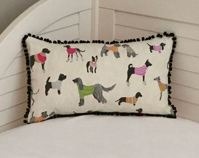 Pups in Sweaters with Black Pom Pom Trim Designer Lumbar Pillow Cover