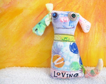 Happy Dog Art Doll, Original Design, Textile Mixed Media Doll, Colorful, hand dyed printed fabrics, Unique Puppy, Dog Lover gift, stuffed