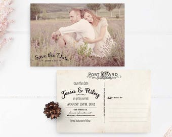 "Save the Date Postcard, 4x6, Save the Date, the ""Jessa 2"""