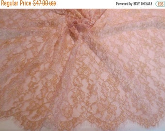 ON SALE Salmon and Metallic Gold Leavers Chantilly Lace Fabric--One Yard
