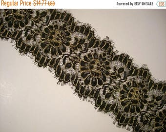 ON SALE Black and Metallic Gold Lace Trim--One Yard