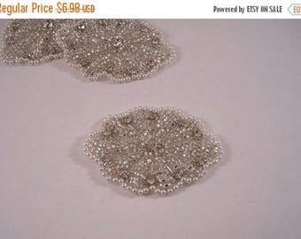 ON SALE Oval White Silver Beaded Applique with Stones--One Piece