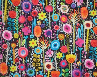 Charming and Cheerful Floral Printemps Digital Print Pure Cotton Fabric--By the Yard