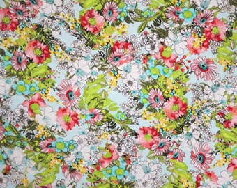 Cool and Colorful Allover Floral Print on Aqua Stretch Cotton Sateen Fabric--By the Yard