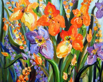 Iris Original Landscape Painting canvas art  30 x 30  Art by Elaine Cory