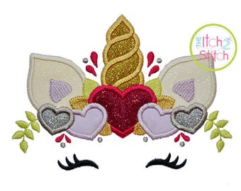 Unicorn Horn with Hearts Applique Design For Machine Embroidery, INSTANT DOWNLOAD now available
