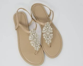 Ivory Wedding Sandals with Crystal Applique Bridal Sandals  Destination Wedding Sandals Beach Wedding Sandals Beach Wedding Shoe
