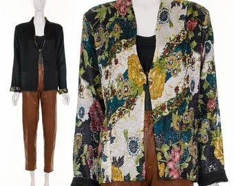 Vintage REVERSIBLE Floral Medallion Jacket Textured Crinkle Jacket Small Medium