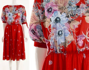 Red Dress Floral Red Dress Knee Length Watercolor Floral Print Dress