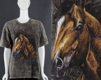 Horse T-Shirt WILD HORSES 90's Grunge T-Shirt Horse Lover Gift Vintage Mineral Wash T-Shirt Small Medium
