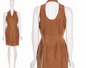 MOVING SALE Vintage 90's Silk TUXEDO Back Cutout Minidress Brown Silk Peter Pan Collar Short Dress Medium