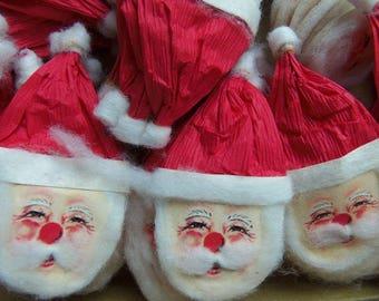 Vintage Christmas Paper Santa Claus Head, U Get 5, Made in Japan, Christmas in July, New Old Stock