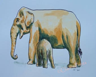 Elephant Art Watercolor Original Animal Painting