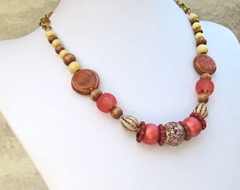 Bohemian Necklace, Big Bead Necklace, Large Bead Necklace, Wood Bead Jewelry, Orange Red Gold Necklace, Bold Jewelry, Gift for Her 19-23in