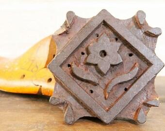 "5.5"" x 5.5"" Vintage Indian Fabric Printing Block Art Tool Diamond Daisy Motif"