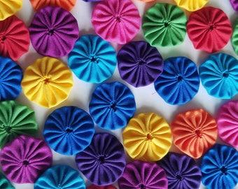 50 Brights Mix 1 inch Miniature Yo Yos Applique Quilt Pieces Scrapbook Embellishments