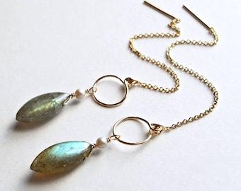 Labradorite Threader Earrings, Long Labradorite Dangle, Grey Threader Earrings, Grey Pearl Earrings