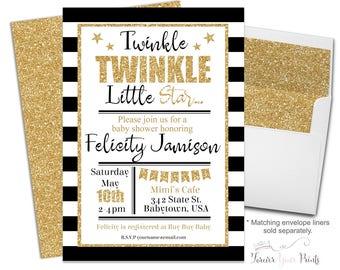 Printable Girls Baby Shower Invitation, Twinkle Twinkle Little Star Baby Shower, Baby Shower Invites, Glitter Baby Shower, Gender Neutral